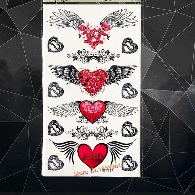 Red Heart Angel Wings Temporary Tattoo Elf Waterproof Fake Flash