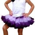 Girls Purple Skirt Tulle Chiffon And Ribbon Fabric Pettiskirt Fit 4-10 years Old Kids Birthday Princess and Party Tutu Skirt