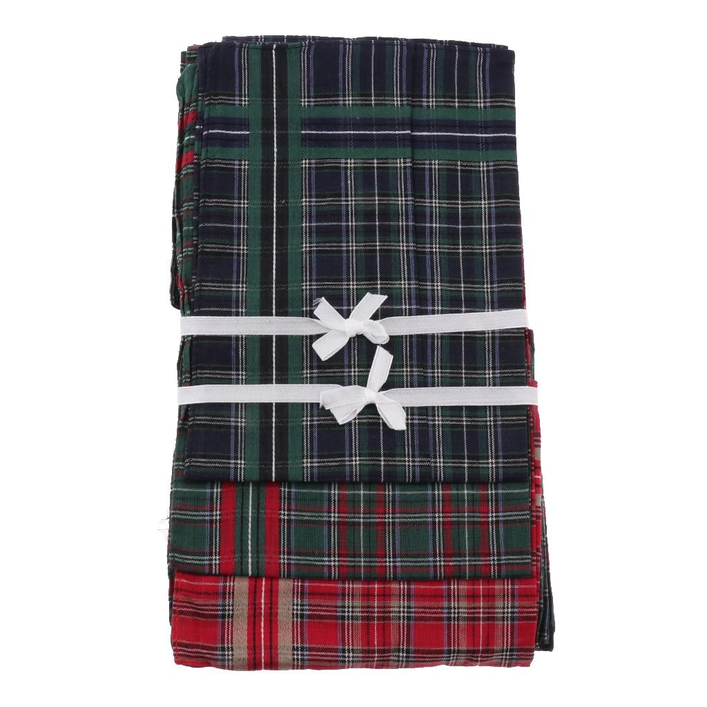 12pcs/Pack Men's Plaid Cotton Handkerchiefs Classic Pocket Square Hanky 40x40cm
