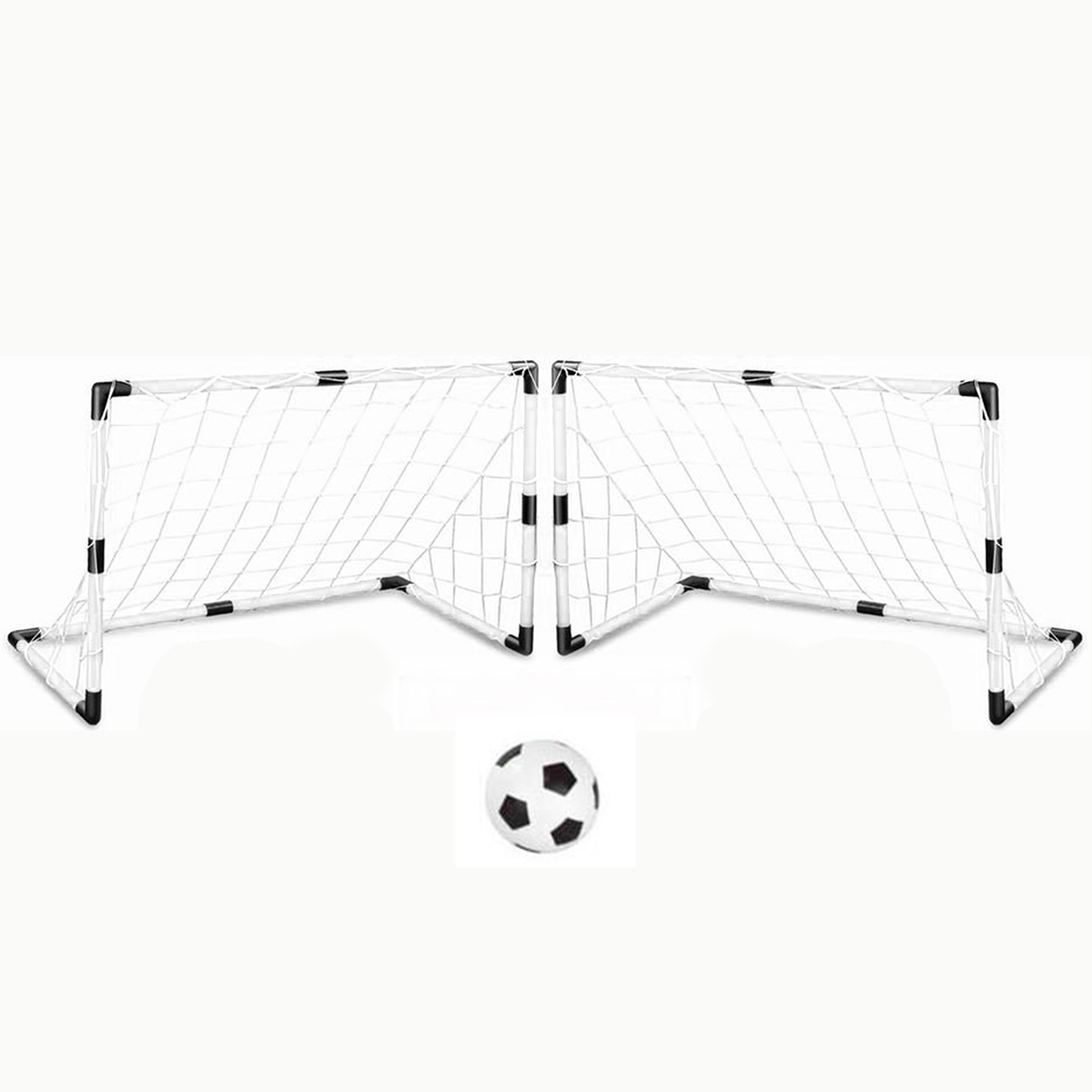 New arrival Set of 2 DIY White Youth Sports Soccer Goals with Soccer Ball and Pump
