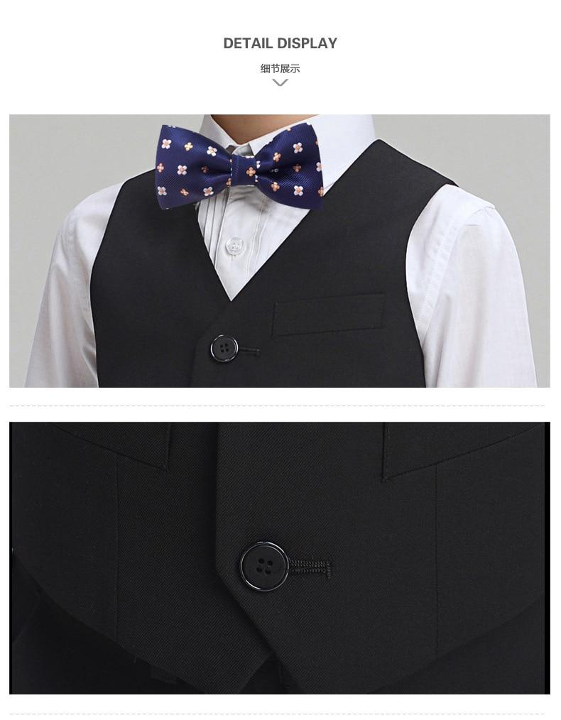 2017 Promotion Big Boys Vest Clothing Set Children Leisure Clothes Kids Wedding Prom Suits Christmas Costumes For Tie Shirt (4)