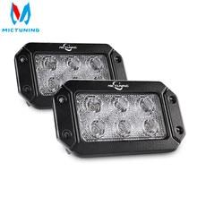 MICTUNING 2PCS 18W Flut Spot LED Work Light Bar Driving Nebel Licht Unterputz LED Lichter Pods für SUV Boot Lkw J eep ATV UTV