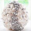 Marfil Rosa Púrpura artificial ramos de novia de flores hechas A Mano Rhinestone de La Novia ramo de novia de dama de Honor Con El Cristal