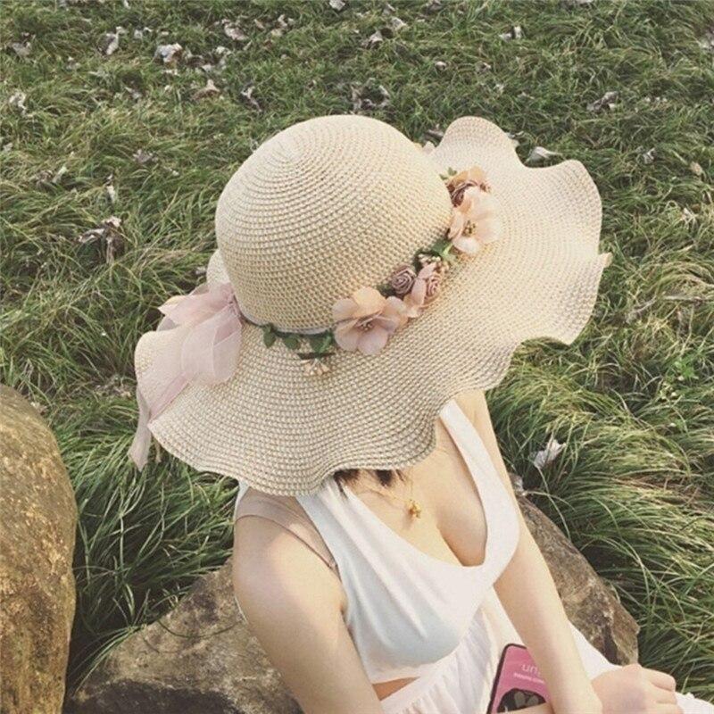 56-57 Cm Strand Sommer Floppy Cap Fiber Anti-uv Schöne Blume Stroh Hut Für Damen Mit Stroh Sonnenhüte Für Frauen Mädchen Kappe Kopfbedeckungen Für Damen