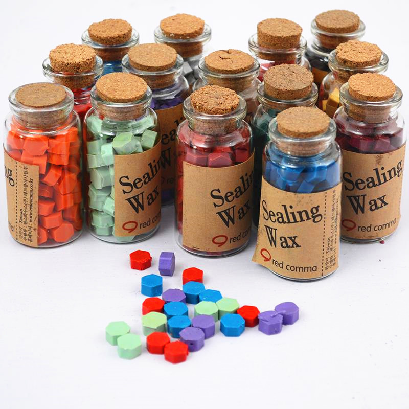 Vintage wax stamp sealing wax bottled granules wax gift box set gift 1 bottle of 50 - 60 pieces