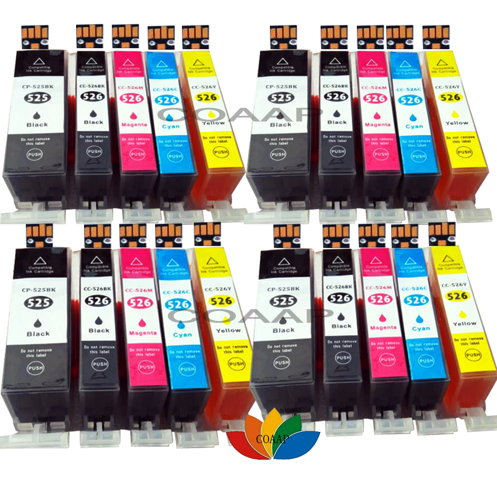 20 Compatible Canon 525 526 Ink Cartridge for Pixma iP4850 iP4950 iX6550 MG5150 MG6120 MG6150 MG6220 MG6250 MG8150 MG8250