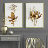 Minimalist Canvas Painting Golden Lilac Hyacinth Orchid Tulip Botanical Prints Flower Poster Modern Wall Art Decoration Pictures