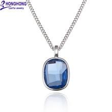Honghong Высококачественная квадратная Подвеска из кристалла ожерелья и подвески для женщин голубое колье ожерелье женские модные ювелирные изделия