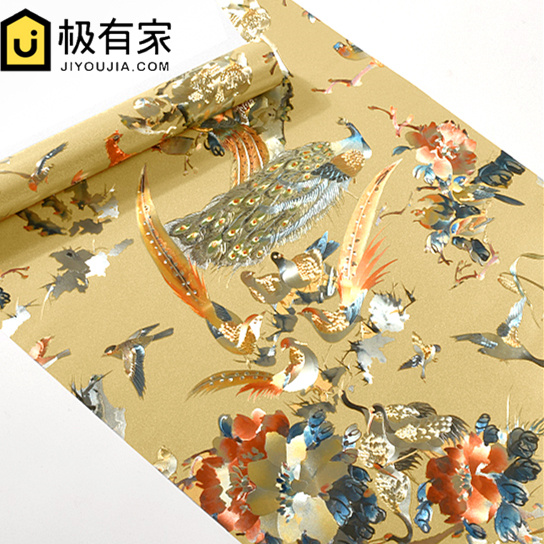 ФОТО 0.53x10m Peacock Wallpapers Classical Flower and Bird Pattern Wallpaper Hotel  style Restaurant bedroom Wallpaper