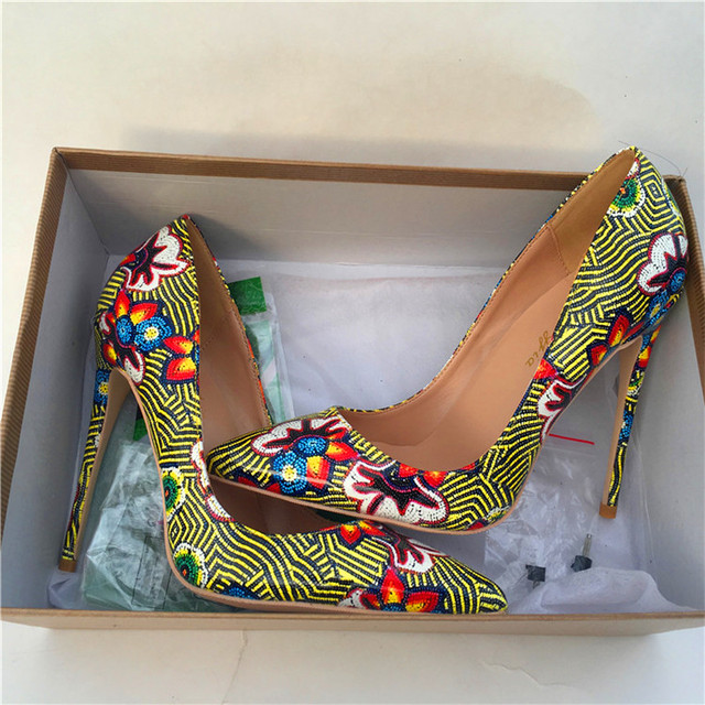 vinapobo Women Fashion Retro Printing Flowers Green Pumps High Heels Shoes Woman Platform Pumps Summer Shoes Woman Pumps