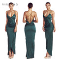 New arrival 2017 satin dress solid sexy backless halter sleeveless party clubwear women maxi dresses drop shipping