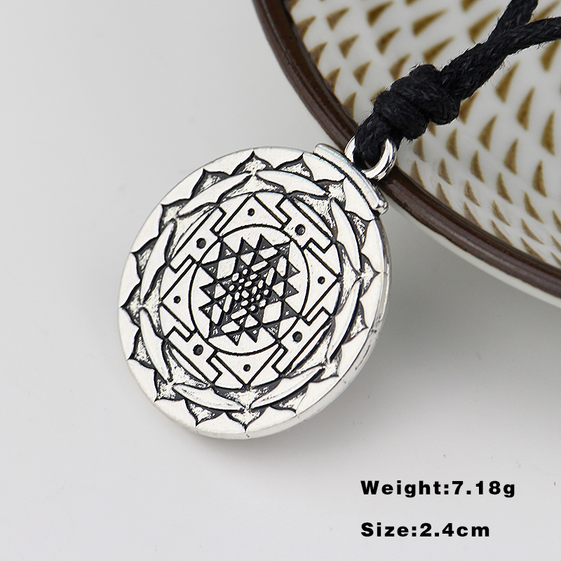 US $1 59 20% OFF My shape Sri Yantra for Growth and Healing Amulet Wealth  Goddess Talisman Pendant Tantric Yoga Hindi Men Leather Cord Necklace-in