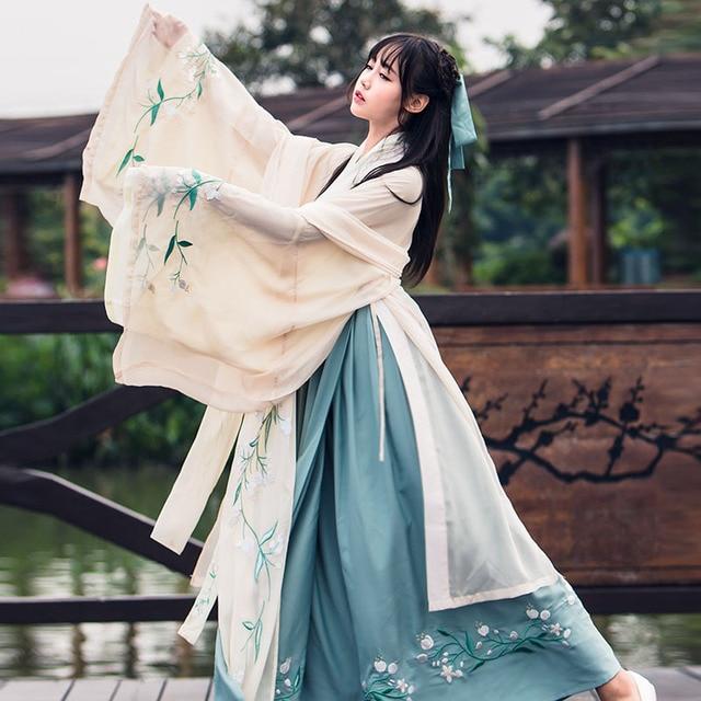 Chińskie tradycyjne wróżki kostium starożytna dynastia han księżniczka odzież narodowy strój Hanfu strój sceniczny ludowy kostium taneczny 90