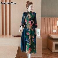 2019 summer retro vestido chines qipao dress long traditional mandarin collar chinese dress vestidos flower printed cheongsam