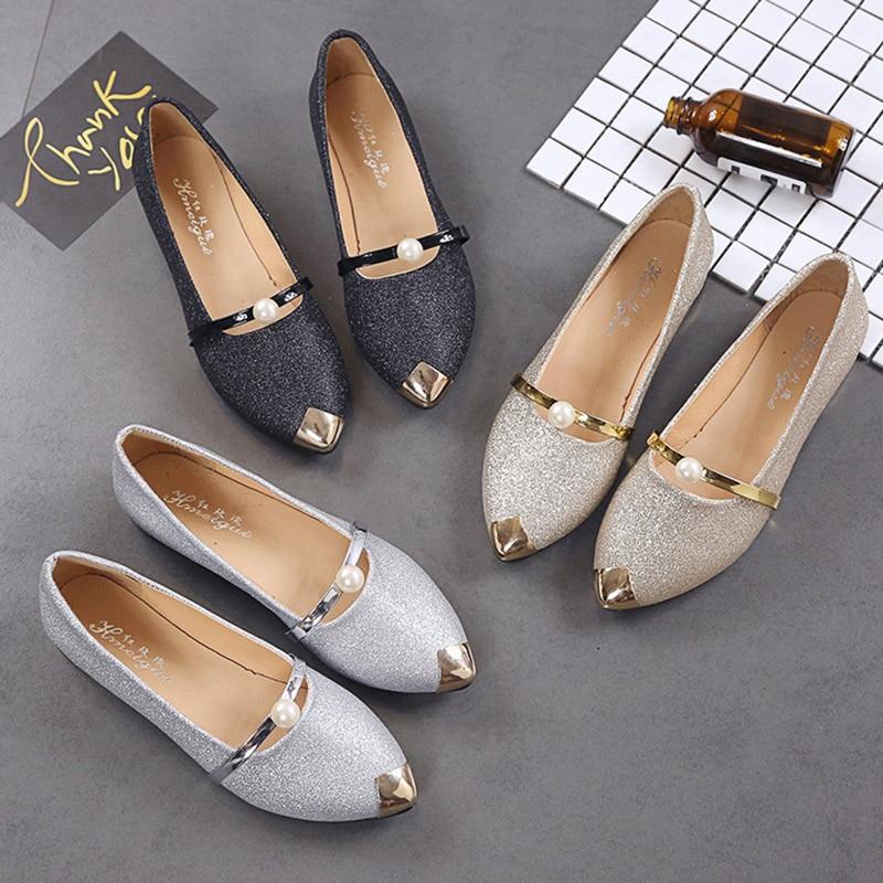 Plates Métal Noir Bout En Janes Zapatos Perle Or Bateau Appartements Pointu Mujer Sur or Dames Femme Femmes H7043 Glissement Chaussures argent Mary Des R6YZwxAn