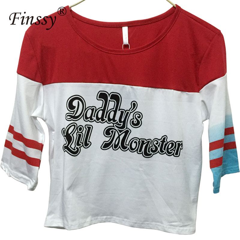 2017 Hot Movie Suicide Squad Cosplay Costume Harley Quinn Daddy's Lil Monster T Shirt