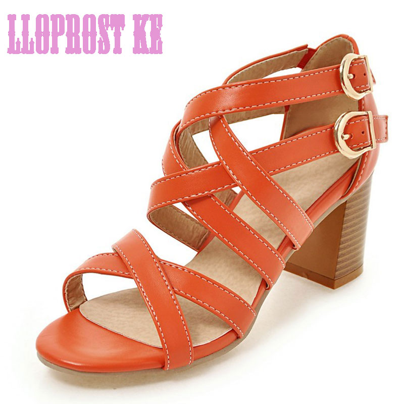 Lloprost ke Women Sandals Plus Size 34-43 Fashion Buckle High Heel Summer Women Pump Shoes Woman OL Gladiator Sandals JT316 fedonas women sandals plus size 34 43 fashion ankle strap high heel summer women pump shoes woman cute colors elegant sandals
