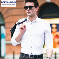 PORT&LOTUS Bussiness Casual Shirts Camisa Masculina Brand Clothing Black & White Shirt Men Long Sleeves Mens Shirt YT015 17332