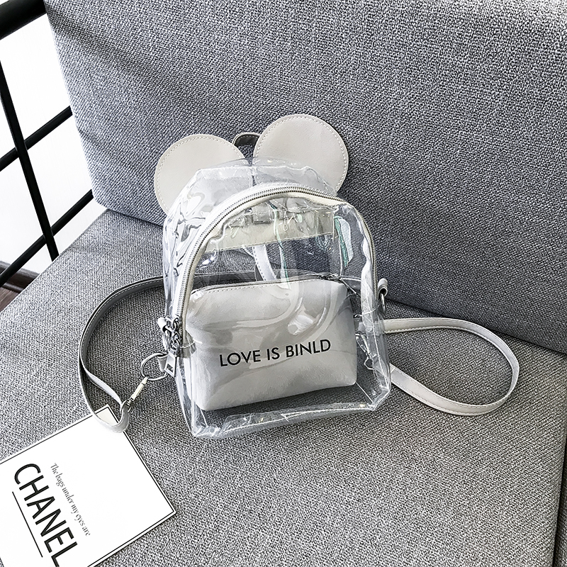 Clear Bag Transparent Jelly PVC Backpacks Girls Mini Clear Backpack Fashion Student Casual Rucksack Printing Letter Mochila Bags