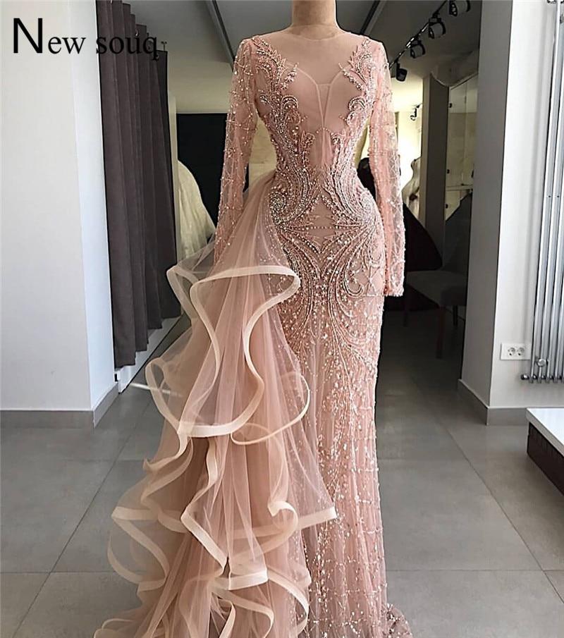 Pink Beaded   Evening     Dress   Abendkleider 2019 Illusion Dubai Arabic   Evening   Party Gowns Robe De Soiree Kaftan Formal   Dress   Mermaid