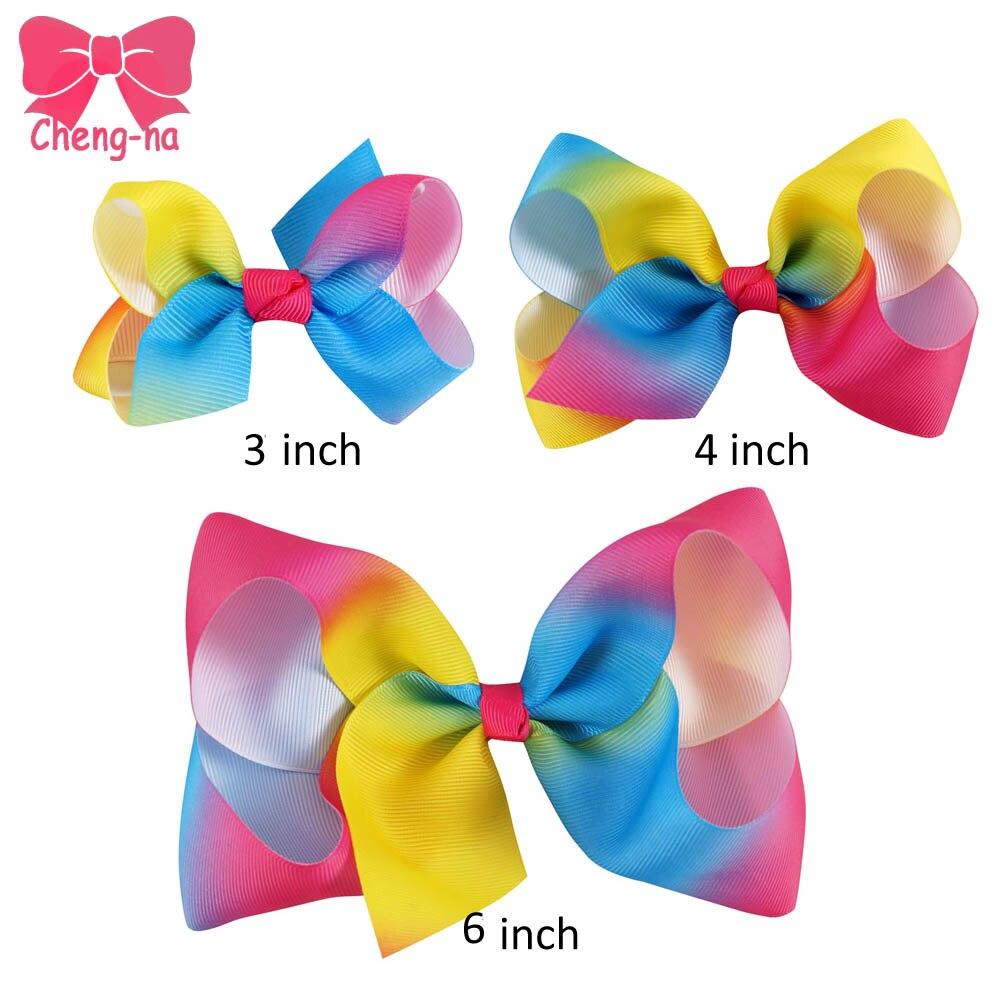 Ha hair bow ribbon wholesale - 9pcs Lot 6 4 3 Girls Grosgrain Rainbows Hair Bows With Hair