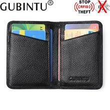 GUBINTU New Bifold Genuine Leather Wallets RFID Blocking Money Purses Male Cowhide Leather Mens Wallet Dollar Price Purse Male
