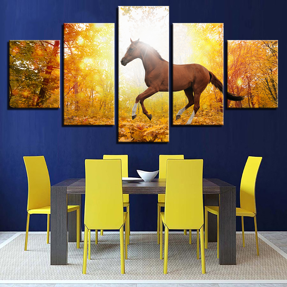 Home Decoration Unframed Wall Art Poster Modern Canvas 5 Panels ...