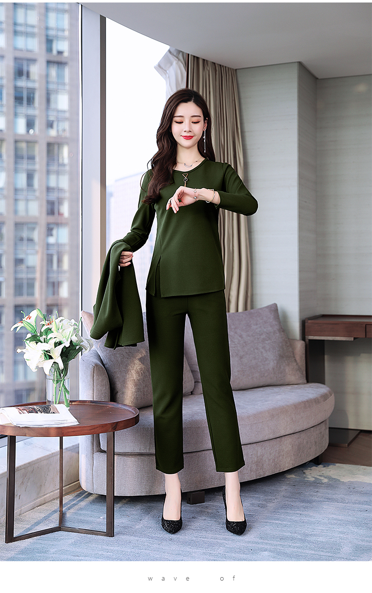 Spring Autumn 3 Piece Set Women Long Coat T-shirt And Pants Sets Casual Elegant Three Piece Sets Suits Women's Costumes 56
