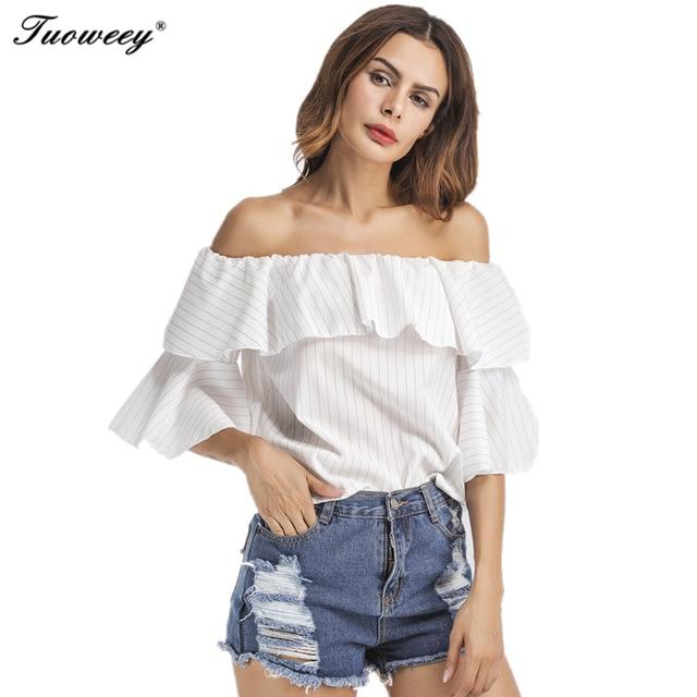 ropa de mujer moda wanita tshirt tops rekreasi mode off shoulde bergaris bahu