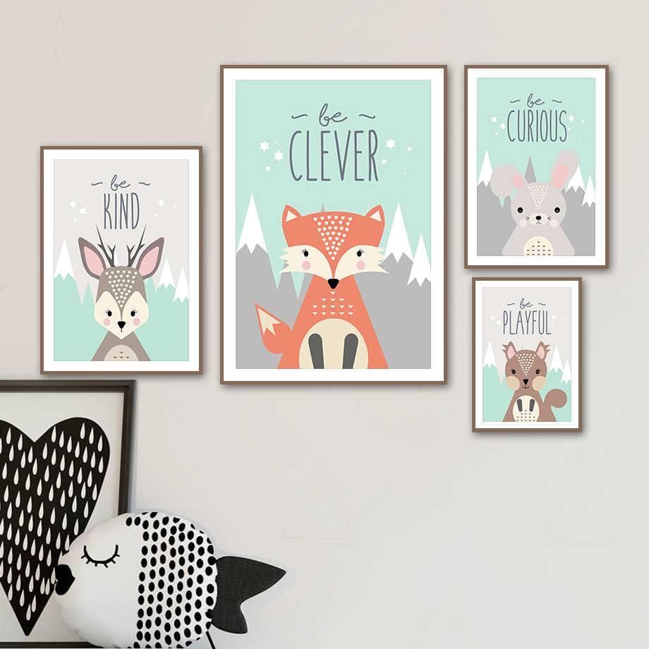 Fox Bear Rusa Kelinci Burung Hantu Tupai Nordic Poster dan Cetak Hewan Dinding Seni Kanvas Lukisan Dinding Gambar Anak-anak Kamar Bayi dekorasi Rumah