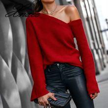 Сексуальный женский свитер на одно плечо с расклешенными рукавами, Повседневная Уличная одежда, осенне-зимний пуловер, женский красный вязаный топ с вырезом лодочкой, джемперы