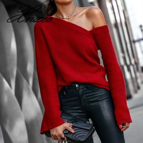 Sexy One Shoulder Flare Sleeve Women Sweater Casual Streetwear Autumn Winter Pullover Female Slash Neck Red Knitted Tops Jumpers
