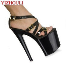 pole dancing sexy Julie Shoes buckle strap Dance high heel shoes 20cm Platform Pointed Stiletto party Dance Shoes