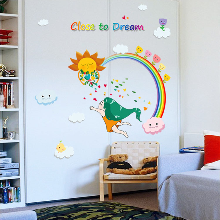 Fundecor Diy Home Decor Close To Dream Of The Rainbow Girl Wall Stickers Art