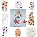 2017 bobo choses tinycotton kikikids verano azul negro perro leche carta muchachas de los bebés del mameluco del mono ropa de bebé vestidos