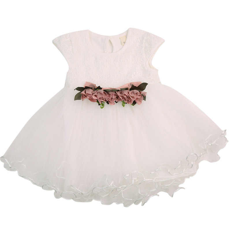 Summer 2018 Baby Girls Floral Dress Princess Party Wedding Sleeveless Lace Cotton Tulle Dresses 0-3Y