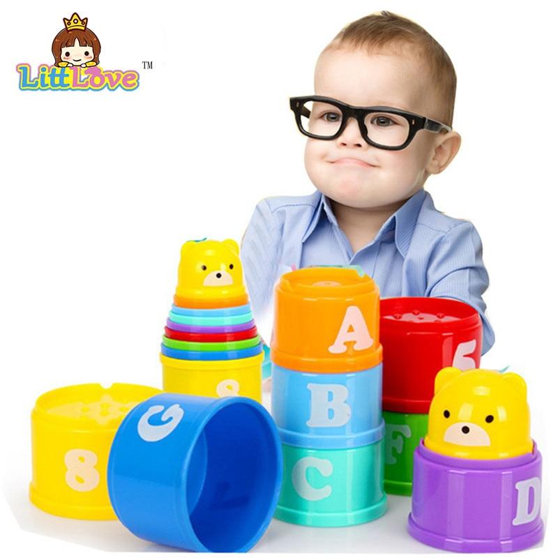 LittLove 9Pcs / Set Toy Bayi Lucu Pendidikan Pembelajaran Kecil Jenga - Mainan pembinaan - Foto 6