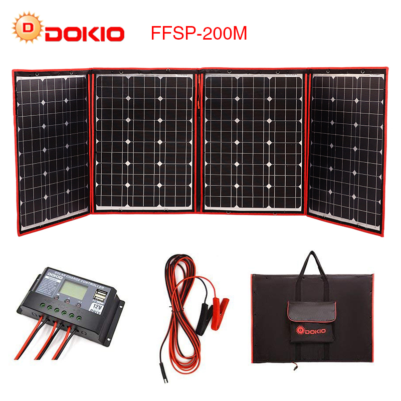 Dokio Flexible plegable de 200 W (50Wx4) mono Panel Solar de alta potencia portátil Panel Solar para RV & barco y viajes Panel Solar marca de China