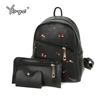 YBYT Brand 2017 New Preppy Style Embroidery Floral Women Composite Backpack Large Capacity PU Leather Student