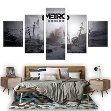 Wall Art Game Poster 5 Pieces Metro Exodus Printed Canvas Painting Pictures Modern On Decoration Frame