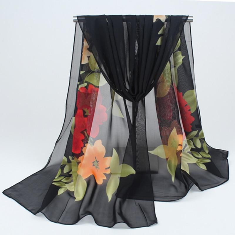12ba058a539 2018 Nouveau foulard Printemps automne mince soie foulards en mousseline de soie  georgette femmes écharpe soleil d été hijab foulard Bandeau FQ031