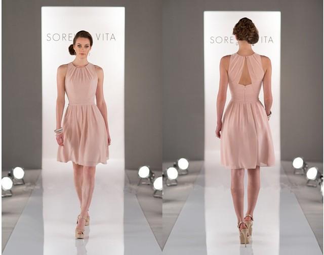 Short Bridesmaid Dress Teens Coral Colored Bridesmaid Dresses 2015 Knee  Length Wedding Party Gown Vestido Dama 574b87fe3662