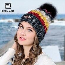 Winter Hat For Women High Quality Warm Beanies Cap Real Fur Pompom Striped Hats Bonnet Girls Casual Hat New Brand TEENYOO недорго, оригинальная цена