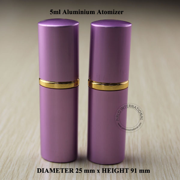 Free Shipping- 5pcs 5ml Purple Aluminium+Glass Perfume Bottle Double Wall Atomizing Spray Bottles DIY Makeup Tools