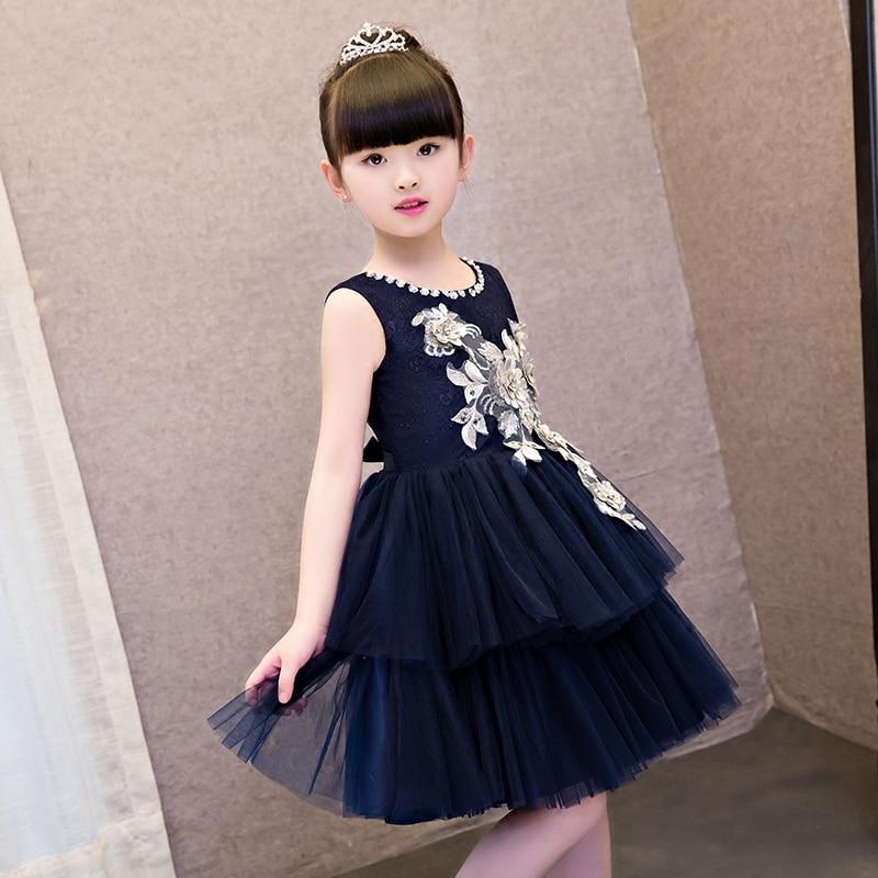 Enfants première Communion robe nouveau 2019 été mode arc Floral enfants fête de mariage dentelle robes paillettes princesse enfants vêtements - 2