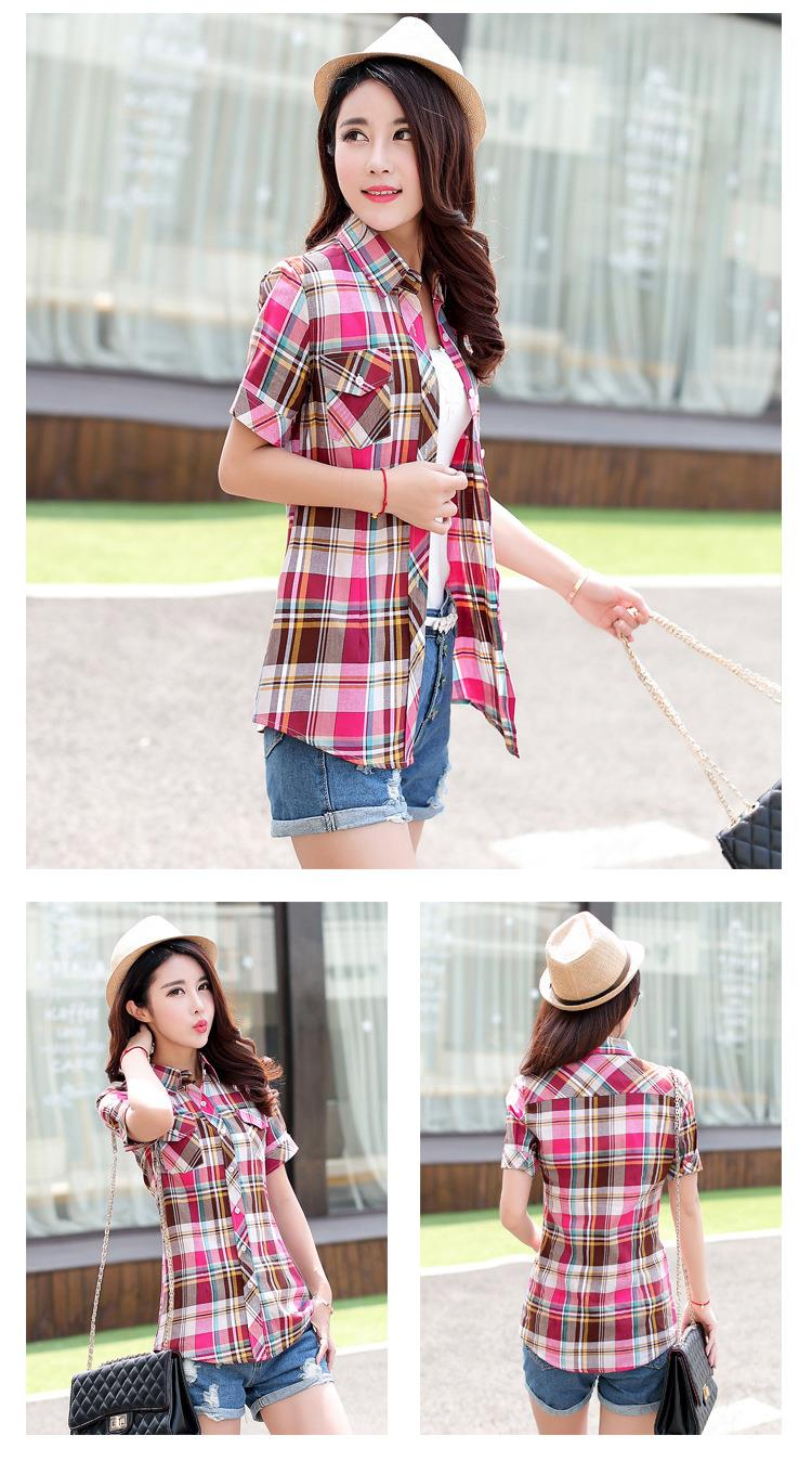 HTB1eqHOJFXXXXXZXVXXq6xXFXXXD - New 2017 Summer Style Plaid Print Short Sleeve Shirts Women