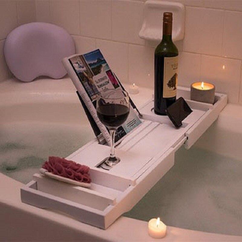 Bathtub Frame Bamboo White Waterproof Bathtub Tray Mobile Phone Tablet Reading Rack Bath Tray In The Bathroom