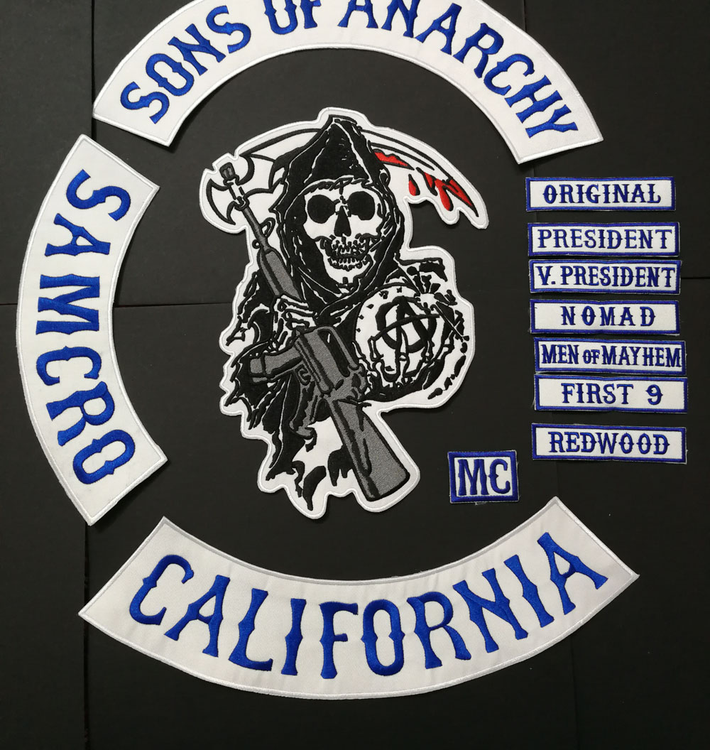 14 Stk/set Blauw Ijzer Op Patches Pasta Voor Schaal Lederen Vest Kleding Sons Van Patches, Biker Patches, Borduurwerk Anarchy Patches