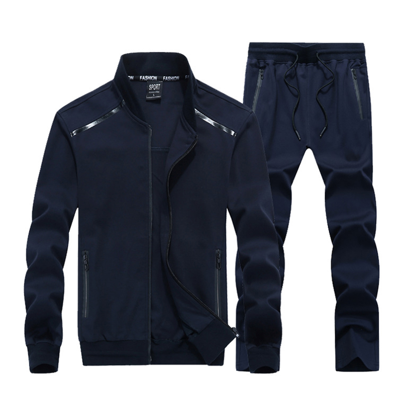 2018 Autumn Men's Clothing Sets Causal Sporting Suit Long Sleeve Sportswear+Pants 2 Piece Set Fashion Tracksuit Mens Size 9XL