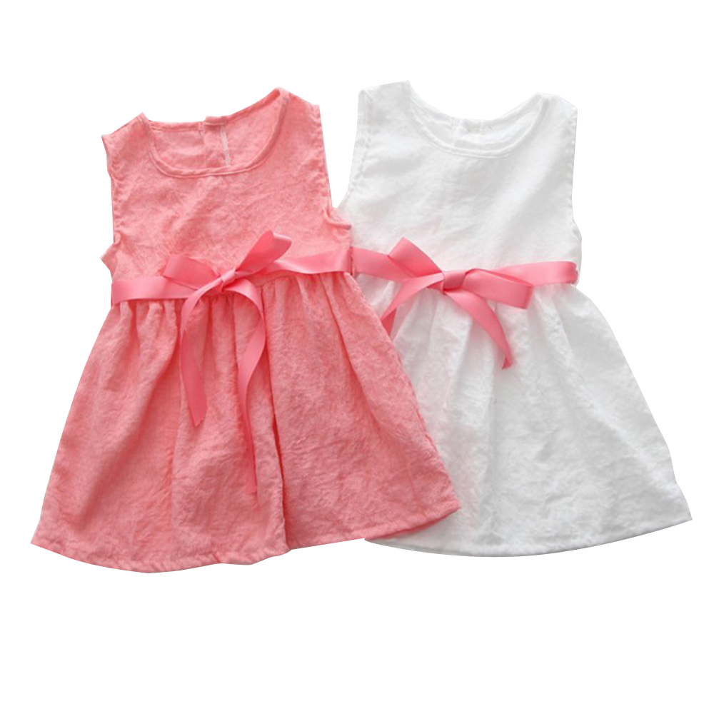 3-8Y Summer Sleeveless Girls Dress Baby Girl Clothes Button Flora Bow Dress A Line Pageant Formal Dresses Kids Sundress girl